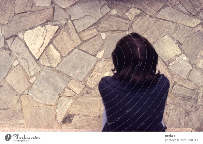 Puuh, äääh, drölfz? Mensch Junge Frau Jugendliche Erwachsene Kopf Rücken Stimmung Vorsicht Gelassenheit geduldig ruhig Interesse Traurigkeit Trauer