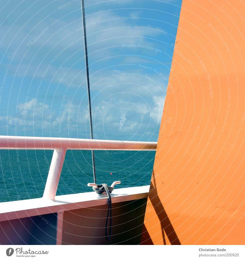 Fähre Wasser Himmel Meer blau Sommer Ferien & Urlaub & Reisen Wolken Ferne Freiheit Wasserfahrzeug orange Metall Wellen Wind Seil