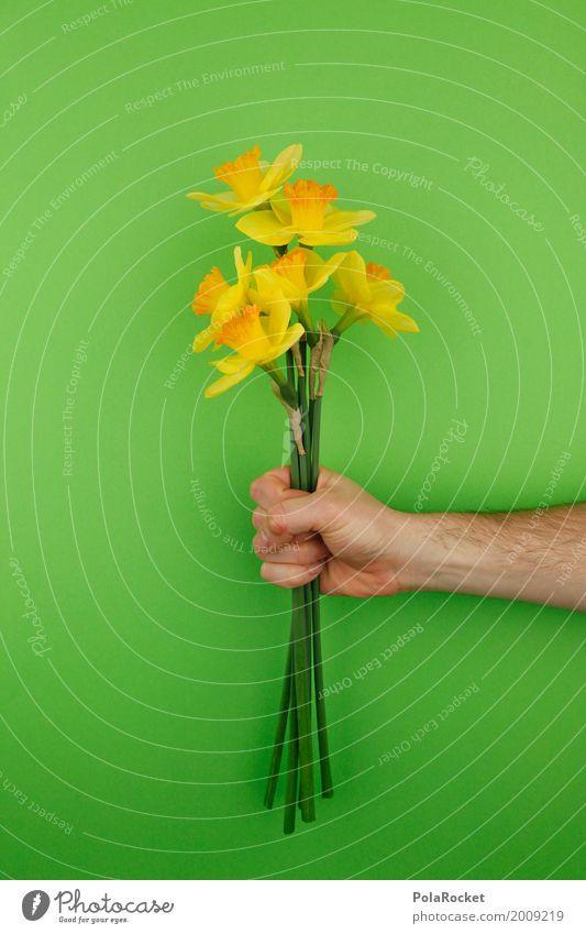 #AS# Büdddeee! grün Hand Blume Kunst ästhetisch Geschenk Ostern festhalten Blumenstrauß Blumenstengel Narzissen Osterwunsch Ostermontag Ostergeschenk