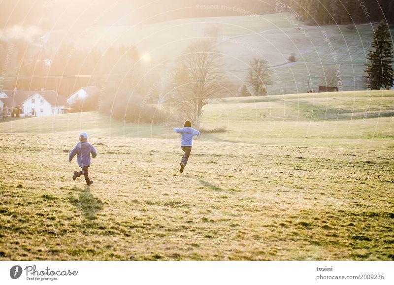 Nichts wie weg Mensch Bruder Kindheit 2 Kindergruppe 1-3 Jahre Kleinkind 3-8 Jahre Gefühle Freude Fröhlichkeit Wiese rennen Frühling Sonne Gegenlicht springen