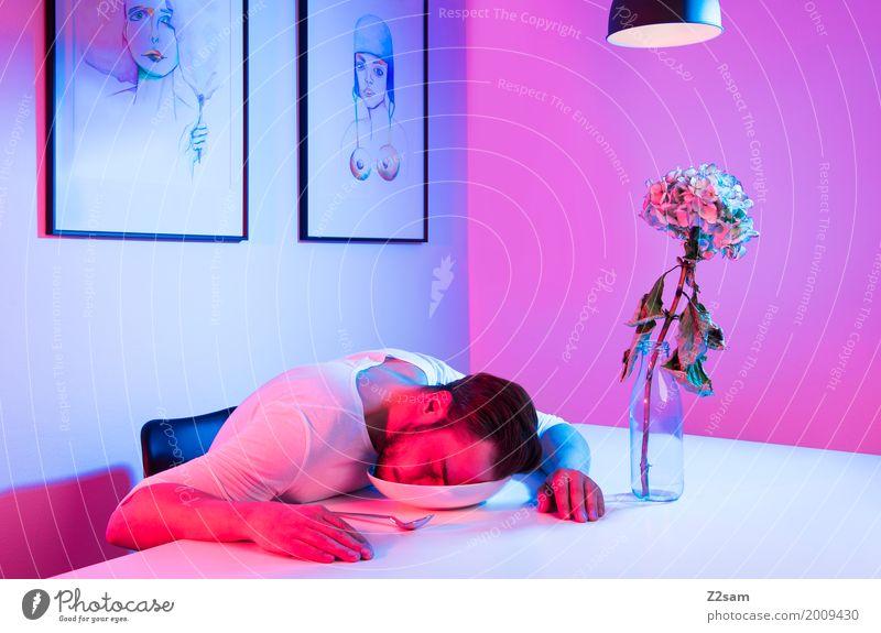 Home sweet home Lifestyle elegant Stil Häusliches Leben Wohnung Innenarchitektur Dekoration & Verzierung Tisch Wohnzimmer Junger Mann Jugendliche 18-30 Jahre