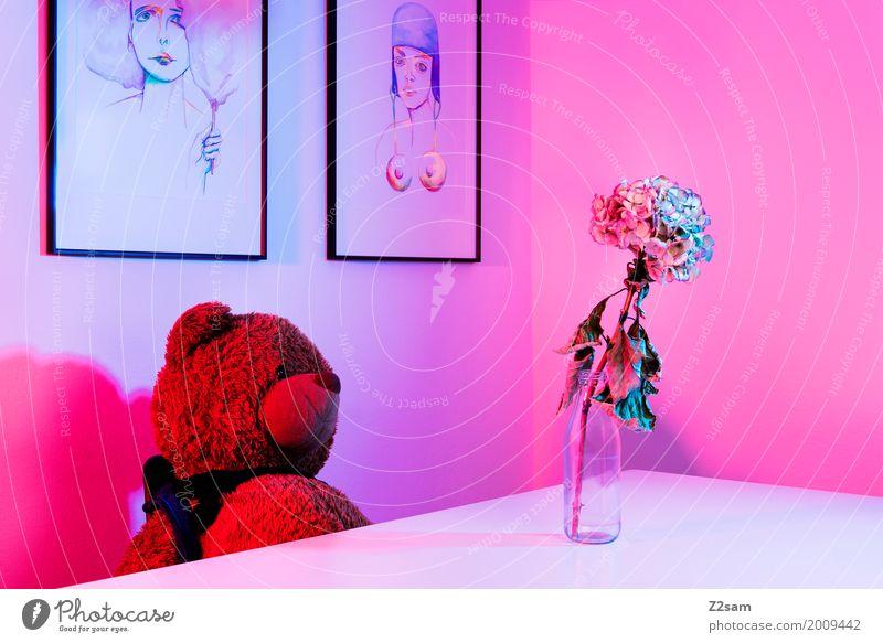 3000!!!!!!!!!! DRÜCK MICH! Lifestyle elegant Stil Häusliches Leben Wohnung Tisch Raum Blume Teddybär Blumenvase Gemälde Kunst sitzen träumen niedlich weich blau