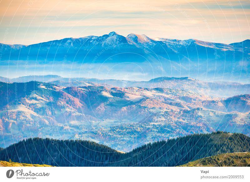 Blaue Berge und Hügel schön Ferien & Urlaub & Reisen Abenteuer Ferne Freiheit Sommer Schnee Berge u. Gebirge Umwelt Natur Landschaft Luft Himmel Wolken Horizont