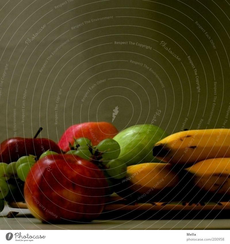 Stilleben, klassisch Ernährung Gesundheit Kunst Lebensmittel Frucht ästhetisch liegen Apfel lecker Stillleben Teller Vitamin Bioprodukte saftig Banane