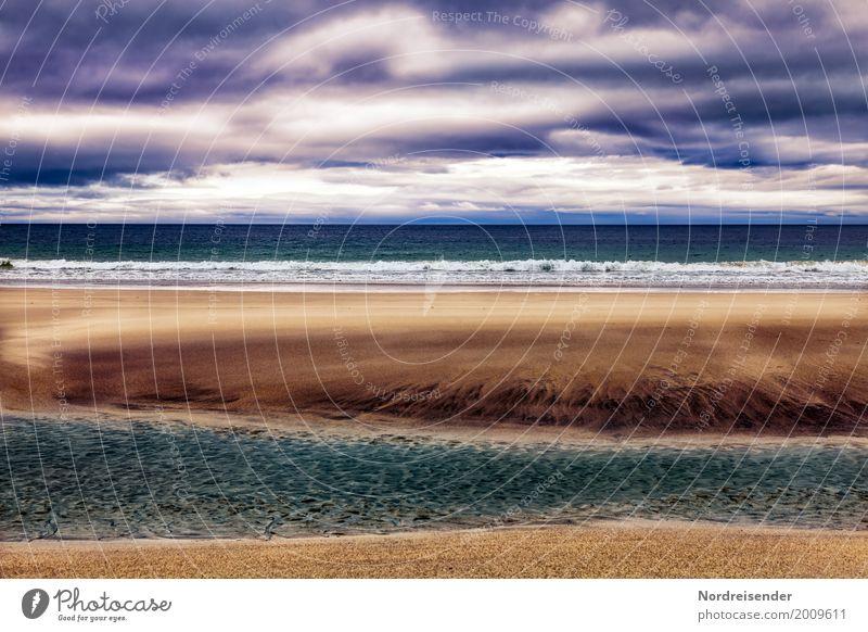 Weites Wasser Natur Ferien & Urlaub & Reisen Landschaft Meer Einsamkeit ruhig Ferne Strand Küste Freiheit Sand Horizont Regen Luft Wind