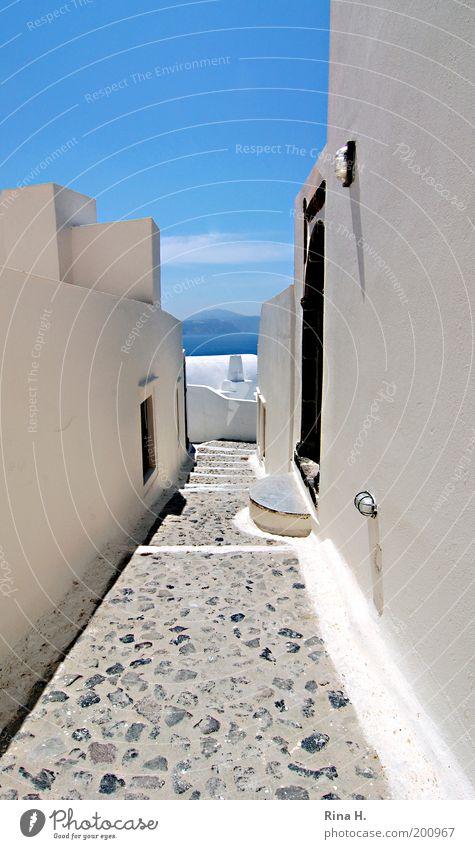Siesta II weiß Sonne Meer blau Ferien & Urlaub & Reisen ruhig Haus Ferne Straße Erholung Wand Stein Mauer Wege & Pfade hell Stimmung