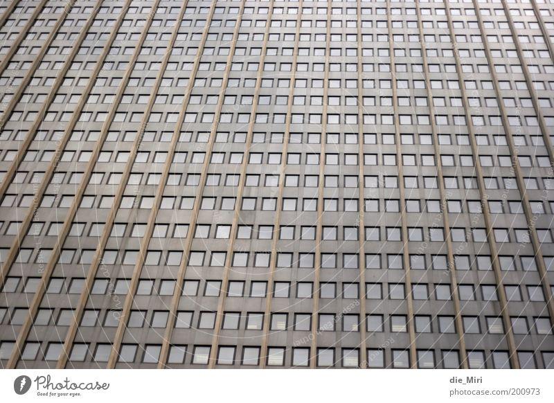 Der Ausblick ist traumhaft... Stadt Fenster grau Stein braun Glas Fassade Hochhaus trist Reihe Bürogebäude Matrix Bauwerk Gitternetz