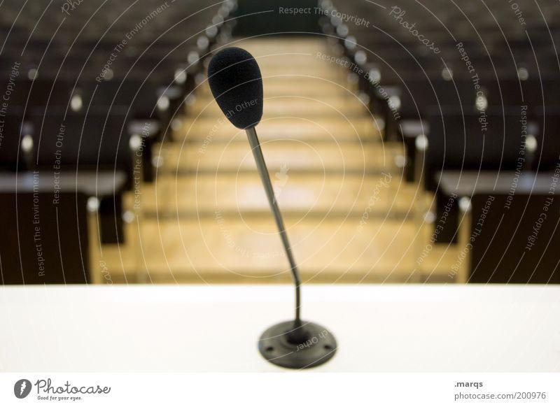 Laut reden und nichts sagen Bildung Studium Hörsaal Sitzung Mikrofon Kommunizieren Ehre Macht Verantwortung Angst Zukunftsangst kompetent Krise Politik & Staat