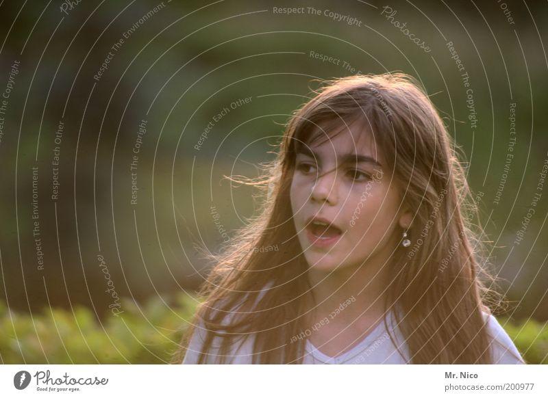 Im Juli feminin Mädchen Kopf Haare & Frisuren Gesicht Mund Sommer Schönes Wetter Garten T-Shirt Ohrringe brünett langhaarig schön natürlich Lebensfreude
