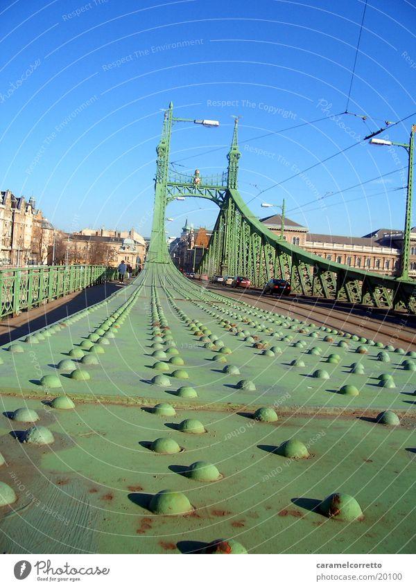 Brücke_in_Budapest_02 grün Froschperspektive Gerüst Ungar Metall Niete Metallnieten Metallbrücke Farbe grün Blauer Himmel Architektur