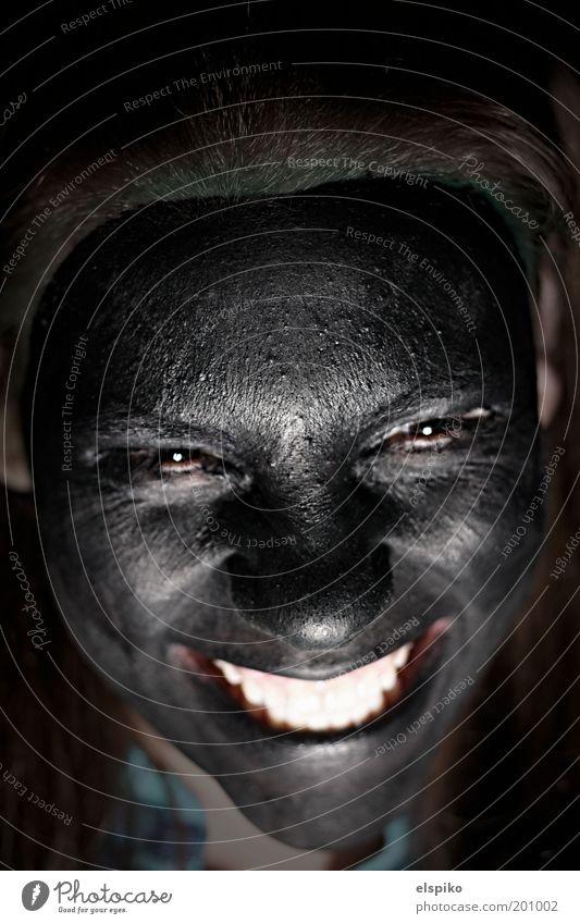 Evil laugh Mensch feminin Junge Frau Jugendliche Erwachsene Haut Kopf Haare & Frisuren Gesicht Auge Nase Mund Lippen Zähne lachen Blick lustig schwarz Farbstoff