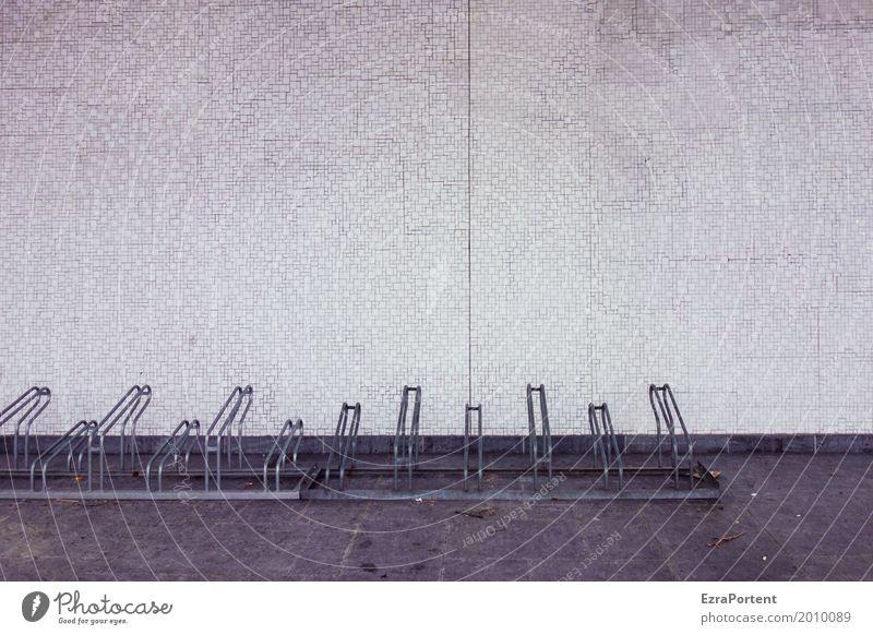 lost and not found Haus Bauwerk Gebäude Mauer Wand Fassade Straße Stein Beton Linie dunkel kalt trist grau Traurigkeit Einsamkeit Leben Fahrradständer