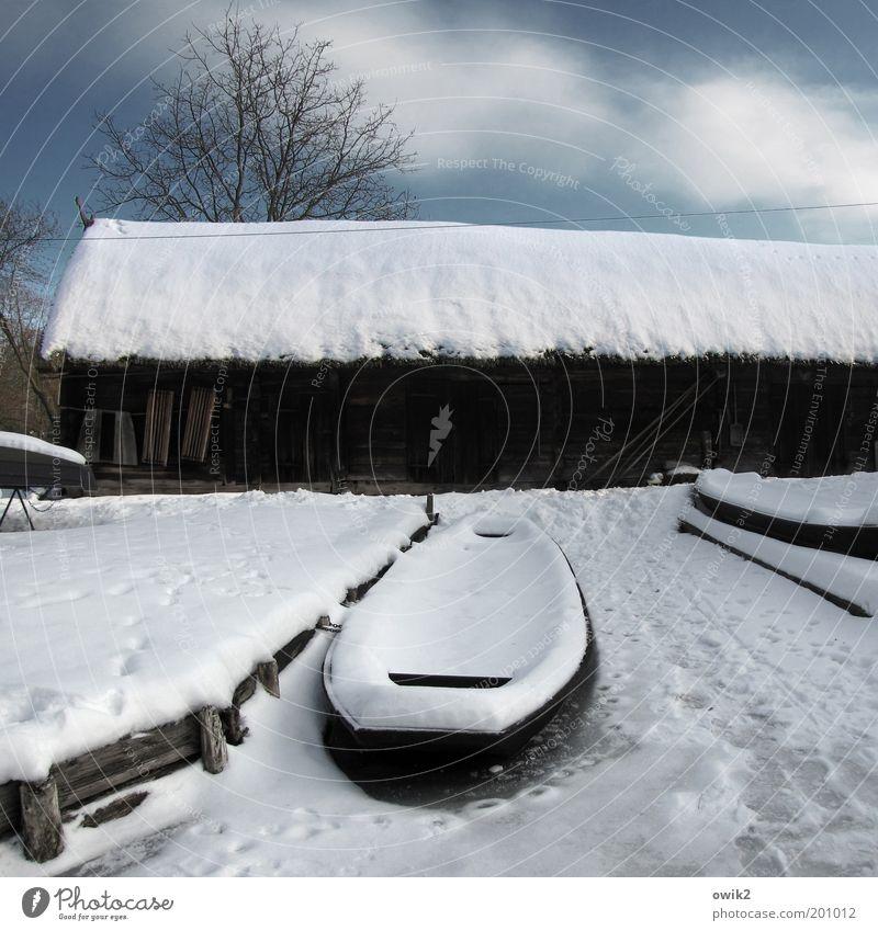 Winter im Spreewald Umwelt Landschaft Himmel Wolken Klima Wetter Schönes Wetter Eis Frost Schnee Lehde Deutschland Haus Bauwerk Gebäude Scheune Dach