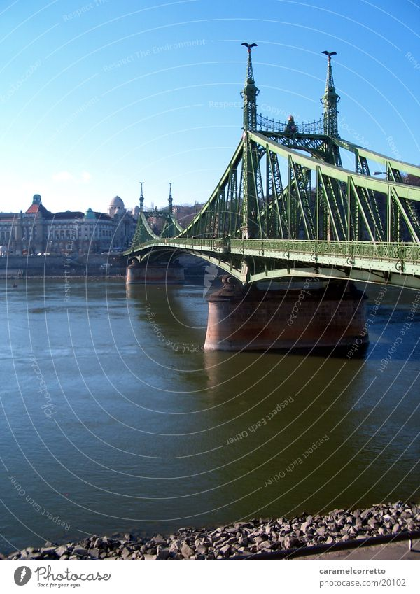 Brücke_in_Budapest grün Flussufer Ungar Wasser Gellert Bad