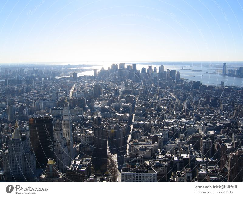 Skyline New York Aussicht New York City Blauer Himmel Nordamerika Empire State Building