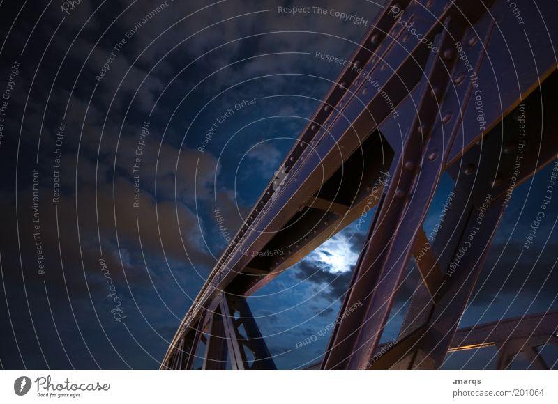 Somnambulismus blau Wolken dunkel Gefühle Stimmung Architektur Brücke Nachthimmel Stahl Mond bauen Stahlträger Mondsüchtig Schlafstörung Stahlkonstruktion