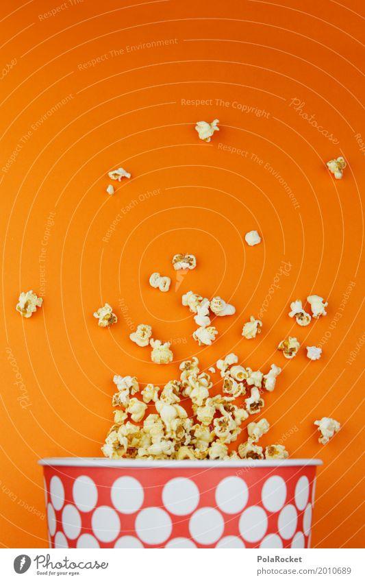 #A# Popcorn Kino Kunst Kunstwerk ästhetisch Kinofilm Popkorn orange lecker ungesund Ernährung gepunktet Fastfood Snack Snackbar viele Farbfoto mehrfarbig