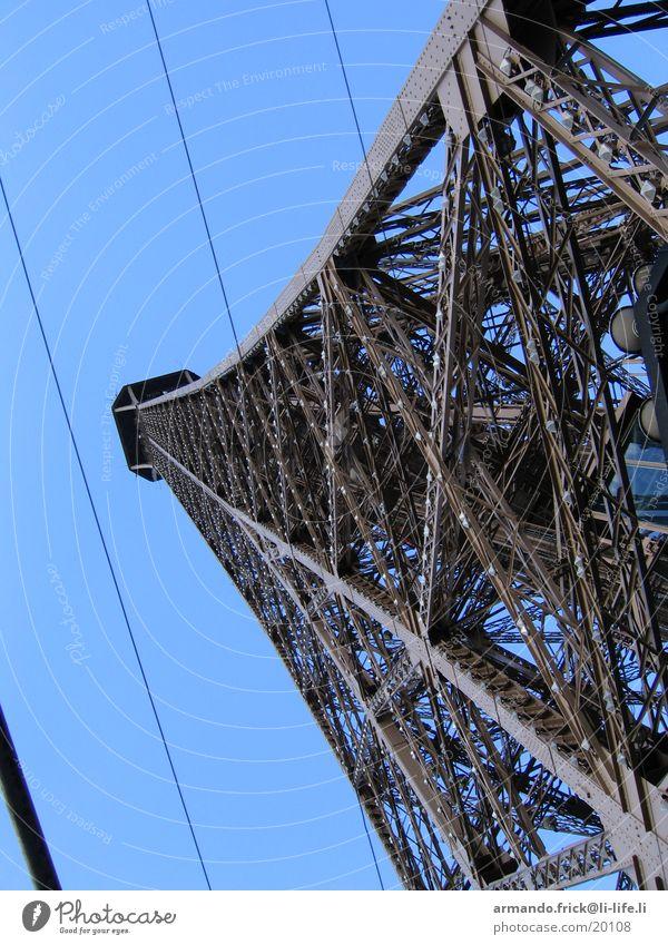 Eifelturm Aussicht Paris Tour d'Eiffel Europa Blauer Himmel Metall Architektur