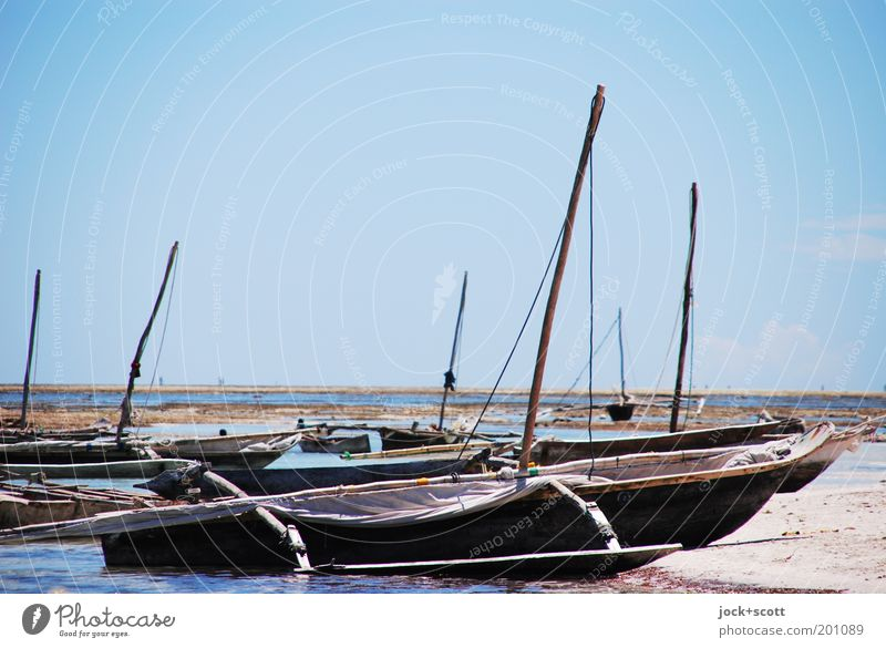 Strandung Ferne Schönes Wetter Küste Meer Kenia Afrika Fischerboot Holz liegen einfach exotisch authentisch bescheiden Horizont Idylle malerisch Segelboot Mast