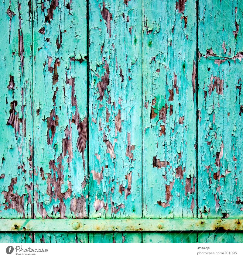 Wandel Design Baustelle Fassade Holz alt einfach kaputt schön Farbe Symmetrie Verfall Wandel & Veränderung abblättern türkis Hintergrundbild Farbfoto