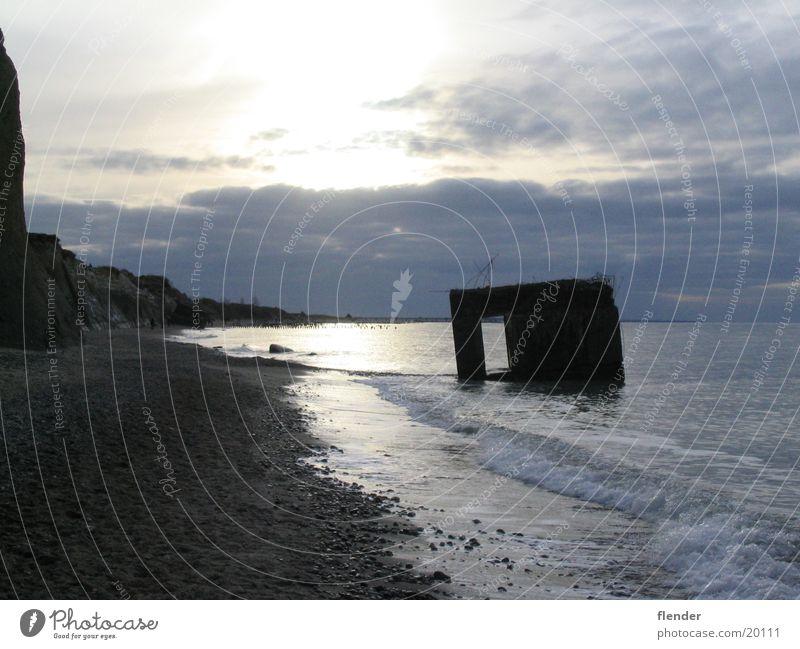 Bunker Wasser Meer Strand Ostsee Brandung Darß