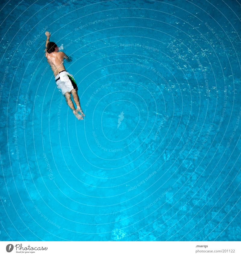 Schwimmunterricht Jugendliche Wasser blau Freude Ferien & Urlaub & Reisen Sport Leben Bewegung Kraft Gesundheit Körper Erwachsene maskulin Lifestyle Schwimmbad