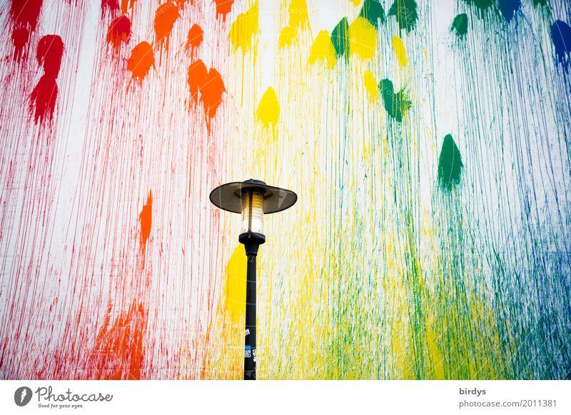 Farbenspaß mit Leuchte Stil Lampe Kunst Jugendkultur Mauer Wand Fassade Straßenbeleuchtung Farbenwelt Farbverlauf Graffiti leuchten außergewöhnlich fantastisch