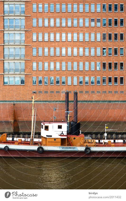 Hamburg Stadt Wasser weiß rot Fenster Architektur Schwimmen & Baden braun Fassade Wasserfahrzeug ästhetisch Fluss Güterverkehr & Logistik Hafen Schifffahrt