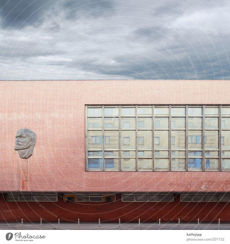 denkblockade Mensch Mann Himmel rot Gesicht Fenster Kopf Gebäude Kunst Architektur Erwachsene maskulin Macht Zukunft bedrohlich