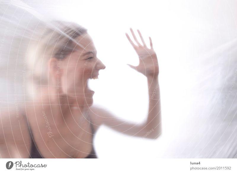 Schrei 1 feminin Junge Frau Jugendliche Erwachsene Mensch 18-30 Jahre schreien Traurigkeit weinen Aggression gruselig Krankheit rebellisch verrückt Wut Gefühle