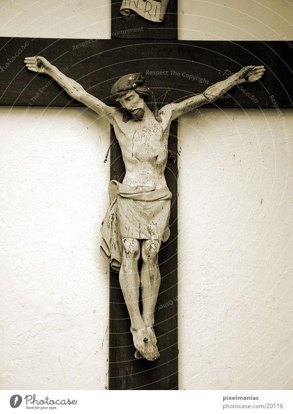 Glaubensfrage Holz Religion & Glaube Rücken historisch Jesus Christus Christentum Sepia