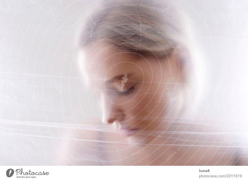 Depression Junge Frau Jugendliche Erwachsene Kopf 1 Mensch 18-30 Jahre Maske blond träumen Traurigkeit gruselig schön Erotik Schutz Sorge Trauer Tod