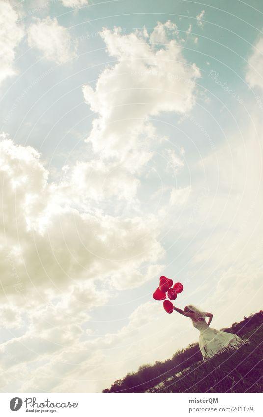 catching love. Kunst ästhetisch Hochzeit Hochzeitszeremonie Luftballon Freiheit Braut Brautkleid Brautschleier Wiese verrückt rot Herz Partnerschaft weiß