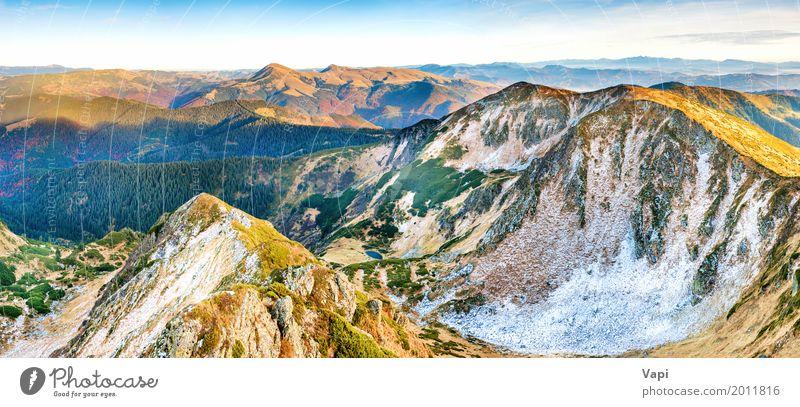 Panorama der Berge bei Sonnenuntergang Himmel Natur Ferien & Urlaub & Reisen blau Sommer Farbe schön grün weiß Landschaft rot Wolken Ferne Winter