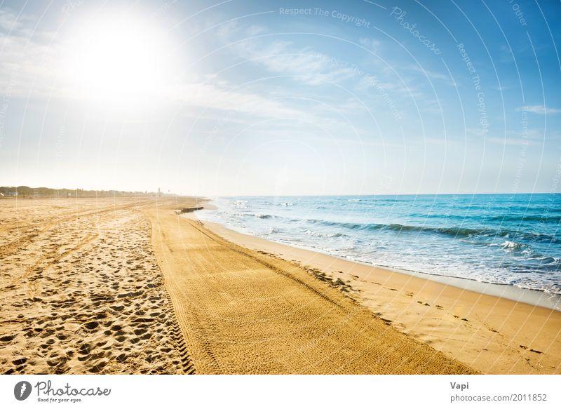 Lange Küste, Strand mit Sand Himmel Natur Ferien & Urlaub & Reisen blau Sommer Wasser weiß Sonne Landschaft Meer Wolken Ferne gelb Frühling Wege & Pfade