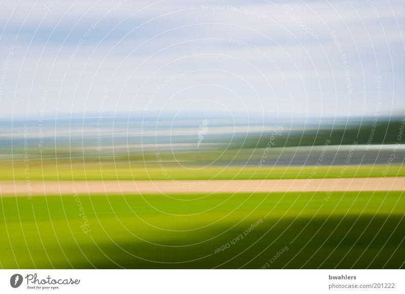 meine Heimat Natur Landschaft Horizont Frühling Schönes Wetter Gras Feld blau gelb grün Farbe Umwelt Ferne Wiese Himmel Streifen Farbfoto Außenaufnahme abstrakt
