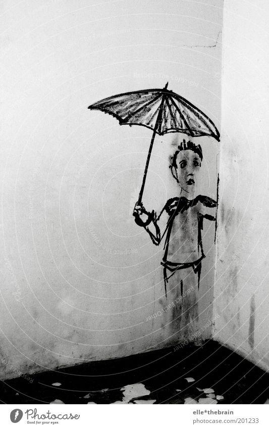 Ich steh im Regen Mensch Kind Wand Graffiti Kindheit maskulin Regenschirm Schmerz Schwarzweißfoto Deutschland Textfreiraum links Wetterschutz Neukölln