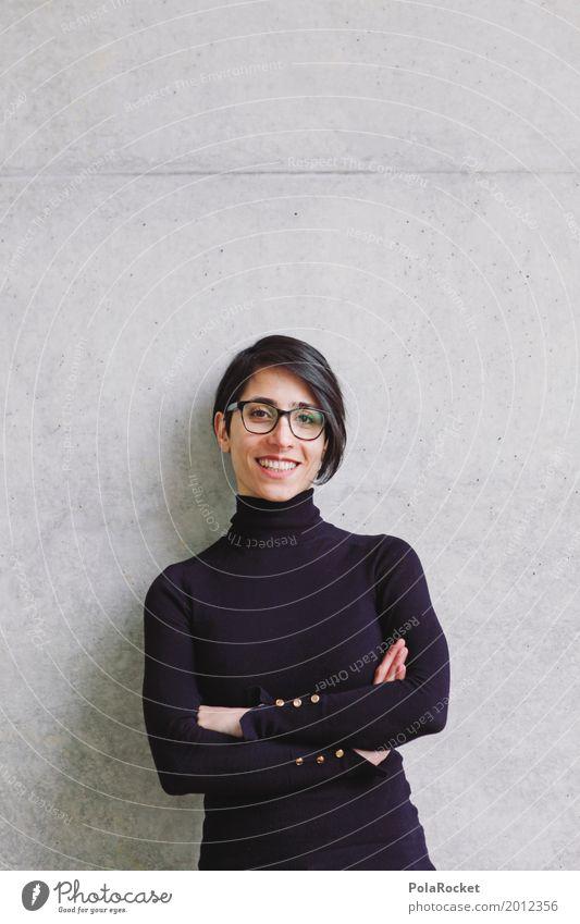 #A# Lächeln 1 Mensch ästhetisch Frau Architekt Betonwand positiv lachen Pullover Mode modern Model Brille Zukunftsorientiert Zukunftstraum Karriere Beruf