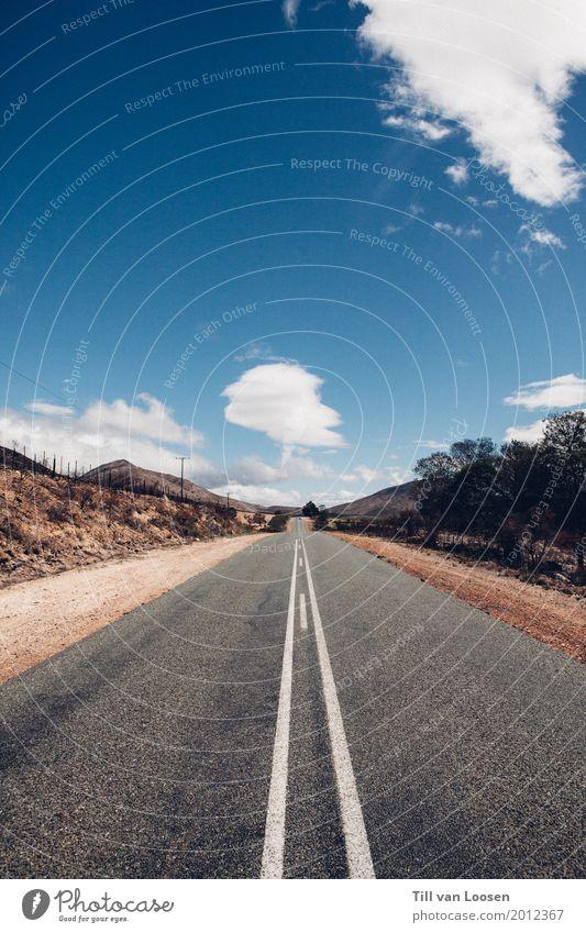 Route 62 Umwelt Natur Landschaft Himmel Wolken Schönes Wetter Menschenleer Verkehr Verkehrswege Straße fahren Ferien & Urlaub & Reisen Unendlichkeit hell lang