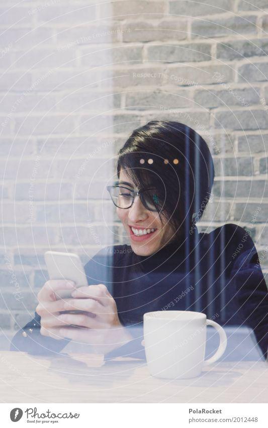 #A# Mobile Pause Frau Hand Freude lachen Kunst Arbeit & Erwerbstätigkeit ästhetisch Kommunizieren Telekommunikation Lächeln Kaffee Handy Kunstwerk Kaffeetrinken