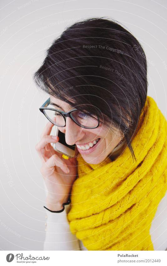 #A# Freundlicher Anruf feminin 1 Mensch ästhetisch Telefon Telefongespräch Kommunizieren sprechen Telekommunikation Handy Brille lachen Lächeln positiv