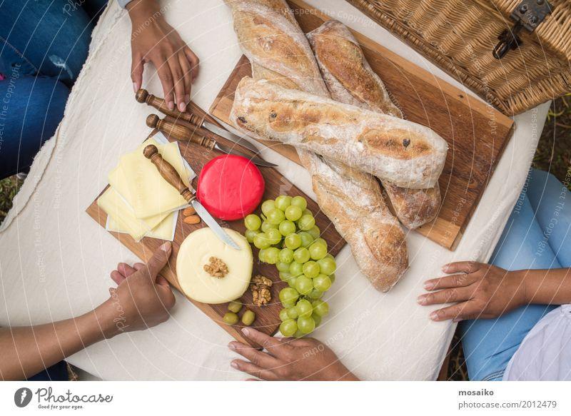 Picknick im Garten Frau Sommer Hand Erholung Freude Erwachsene feminin Lebensmittel Stimmung Freundschaft Freizeit & Hobby Frucht Zufriedenheit Ernährung Idylle
