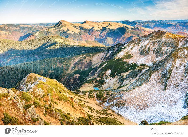 Landschaft mit Hügeln, Himmel und Wolken Natur Ferien & Urlaub & Reisen Pflanze blau Sommer Farbe schön grün weiß Sonne Baum rot Ferne