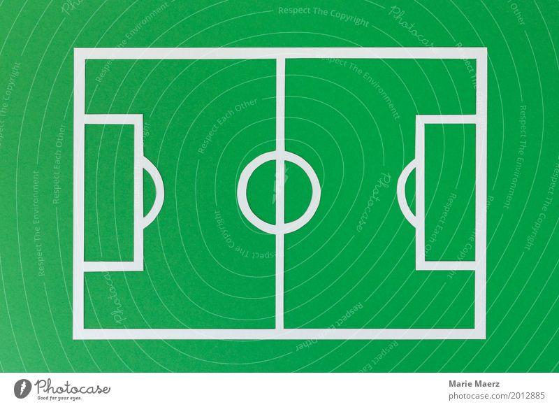 Fussballfeld grün Sport Spielen außergewöhnlich Design Feld Fußball Coolness Spielfeld eckig Tor Konkurrenz Symmetrie Fußballplatz Spielfeldbegrenzung
