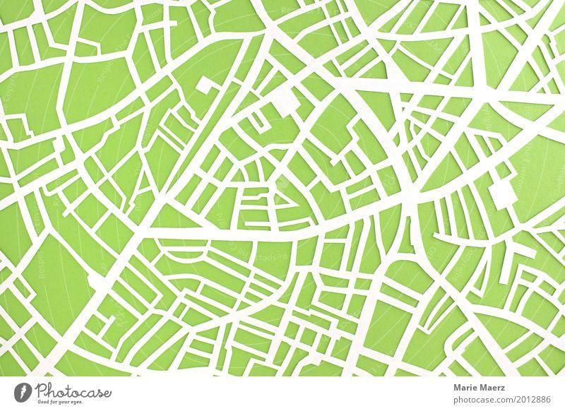 Papierschnitt Stadtplan mit Straßen Design Ferien & Urlaub & Reisen Tourismus Städtereise Park Platz Verkehrswege Straßenkreuzung Wege & Pfade außergewöhnlich
