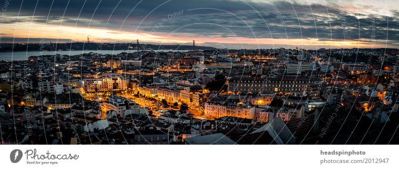 Panorama von Lissabon nach Sonnenuntergang Ferien & Urlaub & Reisen Stadt Erholung Wolken Tourismus Ausflug Schönes Wetter Abenteuer kaufen Fluss entdecken