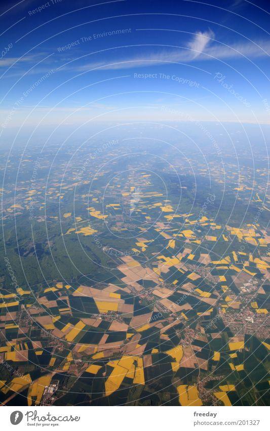 ::: DEUTSCHLAND ::: Himmel Ferien & Urlaub & Reisen Wolken Erde Horizont fliegen Flugzeug Luftverkehr Reisefotografie Landwirtschaft Aussicht Raps Luftaufnahme