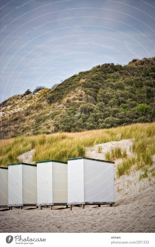 geschlossen Natur Wasser grün blau Pflanze Strand Ferien & Urlaub & Reisen ruhig Wolken Erholung grau Sand Idylle Hügel Strandkorb