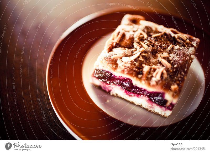 lecker kuchen!! Lebensmittel Frucht Teigwaren Backwaren Kuchen Süßwaren Ernährung Kaffeetrinken Festessen Teller genießen einfach saftig sauer süß braun violett