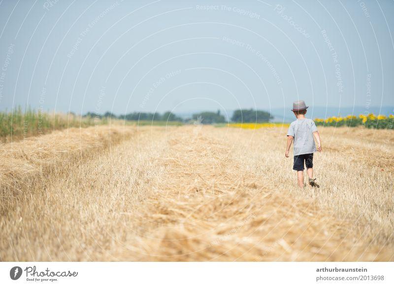 Junge mit Hut geht über gemähtes Feld Freizeit & Hobby Spielen Ferien & Urlaub & Reisen Tourismus Sommer Sommerurlaub Sonne wandern Mensch maskulin Kind
